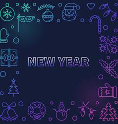 new year square modern frame in thin line vector image