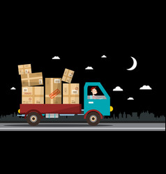 night delivery service van full of parcels on vector image