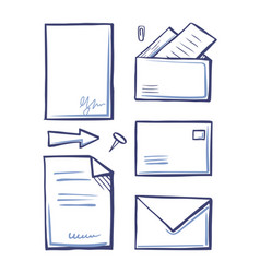 Office paper and documents in letters set vector