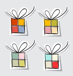 Paper Gift Box Set on Grey Background vector image vector image