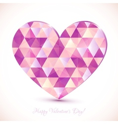 Pink diamond triangles texture realistic heart vector image