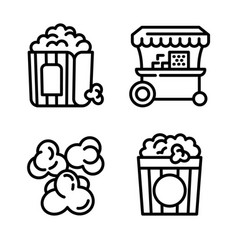 Popcorn icons set outline style vector