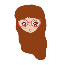 pretty girl face with haistyle and glasses vector image