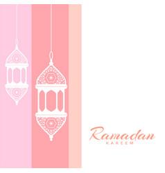 Ramadan kareem greeting with decorative lamps vector
