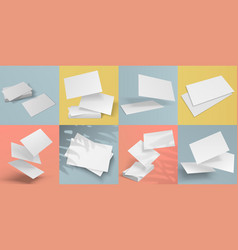 Realistic business cards blank mockup of vector