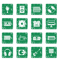 Recording studio items icons set grunge vector