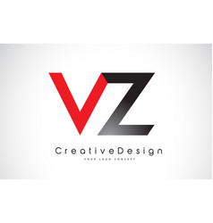 Red and black vz v z letter logo design creative vector