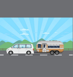 Road trip poster with hatchback car and trailer vector