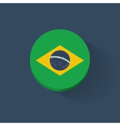 Round icon with flag of Brazil vector image