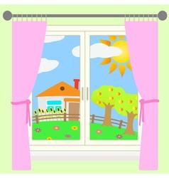 Rural landscape outside window vector
