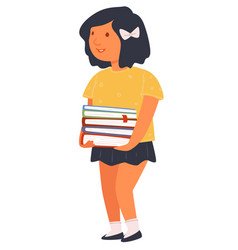 Schoolgirl holding pile books pupil with vector