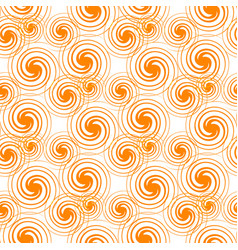 Seamless pattern orange swirls isolated on white vector