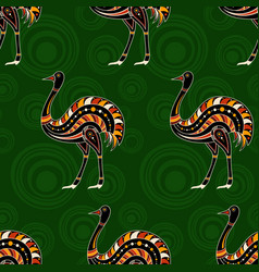 Seamless pattern ostrichs with abstract vector