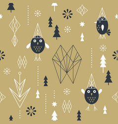 seamless pattern with geometric owls vector image
