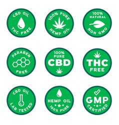 set cbd themed logotypes gmo free gmp certified vector image