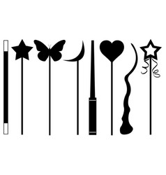 Set of different magic wands vector