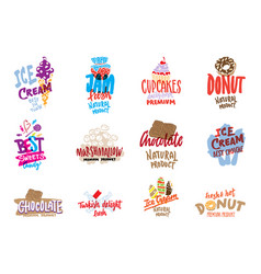 Sketch candies and sweets logos set vector