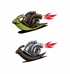 Snail with turbos speed logo vector