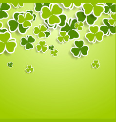 st patricks day green clovers abstract background vector image
