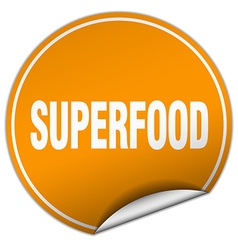 Superfood round orange sticker isolated on white vector