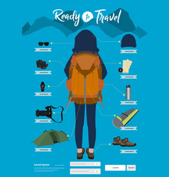 Travel items and objects traveling ready vector