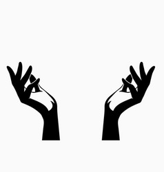 two open hands line without filling vector image
