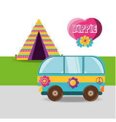 Van with flower hippie concept vector