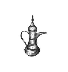 vintage arabian teapot vector image
