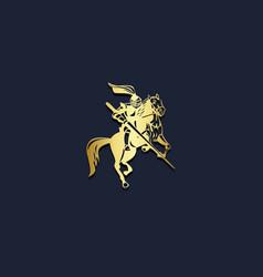 Warrior riding horse gold logo vector