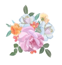 Watercolor greeting card with roses for vector image