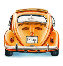 Watercolor shiny vintage car back view vector