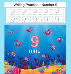 Writing practices number 9 with fish vector