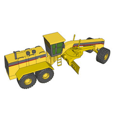 yellow industrial grader on white background vector image