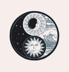 Yin yang symbol with sun moon stars and sea vector