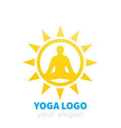 yoga logo with sun vector image