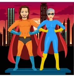 Young man and woman in superhero costume vector
