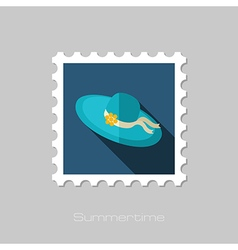 Beach hat flat stamp Summer Vacation vector image