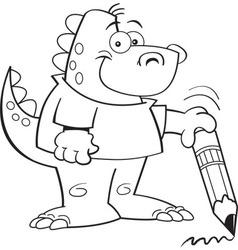 Cartoon Dinosaur Holding a Pencil vector image vector image
