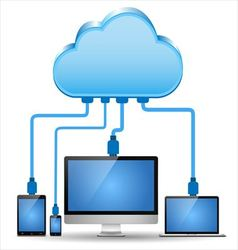 Electronic device connected to the cloud computing vector image