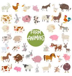 farm animal characters big set vector image vector image