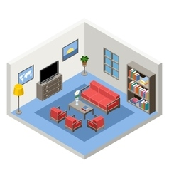 interior of the isometric room with vector image