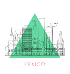 outline mexico skyline vector image vector image