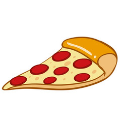 slice of pizza on white background vector image vector image