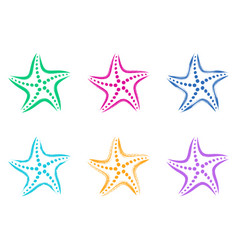 colorful stylized starfish icons vector image