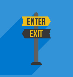 enter and exit sign post flat design vector image vector image