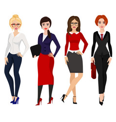 four elegant business women vector image