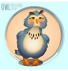 Funny blue owl cartoon series vector image vector image
