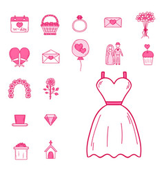 wedding outline married engagement groom bride vector image