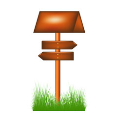 Wooden direction sign standing in the grass vector
