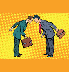 Business competition two businessman in conflict vector